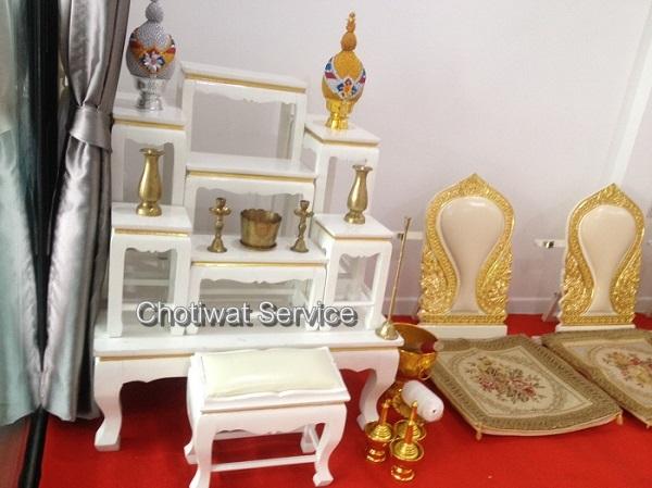 บริการให้เช่าโต๊ะหมู่ อาสนะ ตั่งรดน้ำสังข์ โต๊ะ เก้าอี้ อุปกรณ์จัดงาน Chotiwat service  086-6998598, 089-1291895