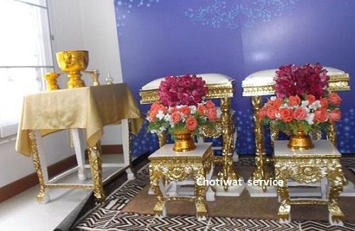 บริการให้เช่าชุดตั่งรดน้ำสังข์,ให้เช่าชุดโต๊ะหมู่บูชา+ชุดอาสนะสงฆ์ Chotiwat service  086-6998598, 089-1291895